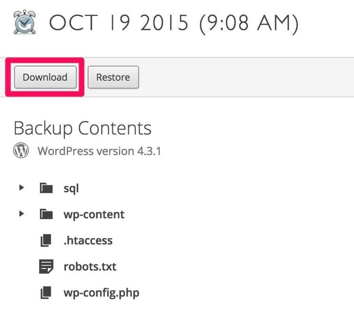 Backup download