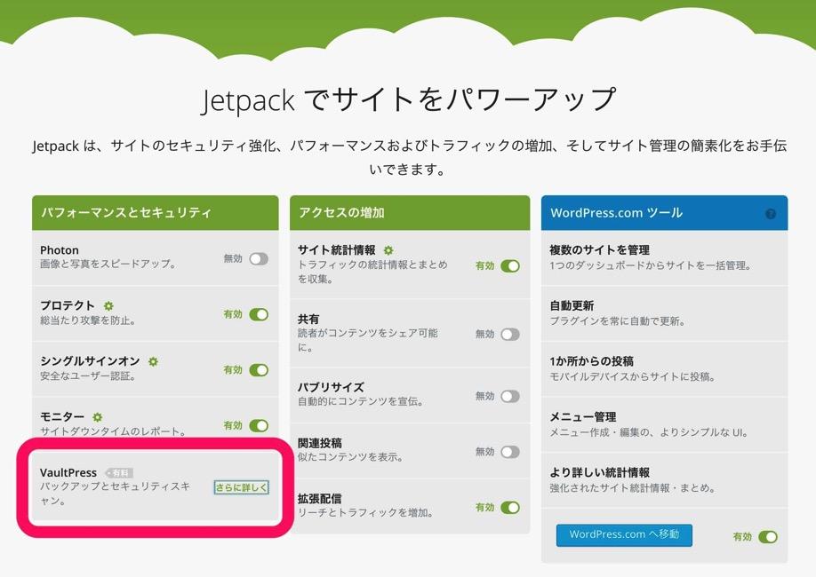 JetPack vaultpress